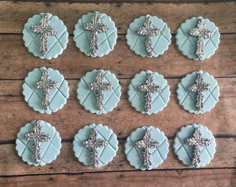 12 Fondant cross for cupcake toppers