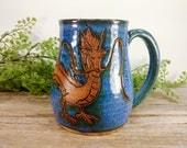 Spirited Away Haku Mug - 16 oz Bright Blue Wheel Thrown Hand Carved Studio Ghibli Coffee Cup