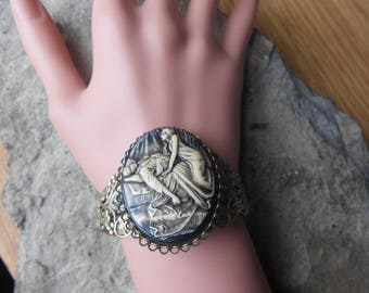 Succubus (Hand Painted Cameo) Bronze Filigree Bracelet - Great Quality - Vampire, Vampiress, Goth, Gothic