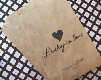 50 Wedding Favor Bags, Candy Buffet Bags, Lucky in Love, Personalized Kraft Brown Bag, Lottery Ticket Holder, Scratch card, Bridal Shower