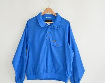 Vintage Nylon Windbreaker Jacket Pull Over 80's Era Eddie Bauer Partial Snap Up Royal Blue Light Weight Nylon Jacket Size Large