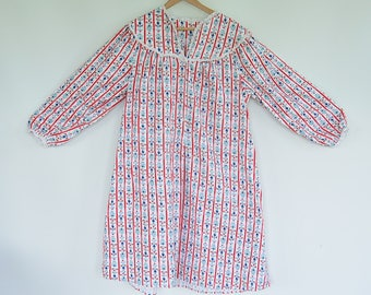 Lanz of Salzburg Long Flannel Night Gown All Cotton White Trim Size large Soft warm Comfy