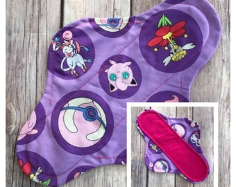 "10"" Flannel Purple Pokemon Cloth Panty Liner ~ Mama Cloth"