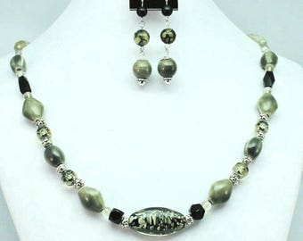 Camo Green necklace and earrings set