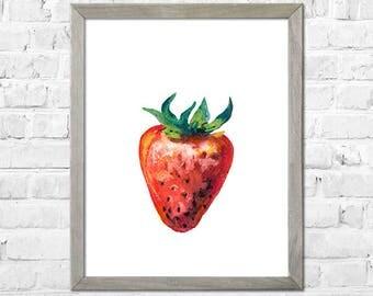 Kitchen Wall Art, Fruit Watercolor, Kitchen Print, Strawberries Watercolor Painting, Strawberries Botanical Watercolor, Kitchen Wall Decor