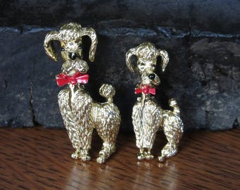 Pretty Poodle Pair, Scatter Pins,Brooch Brooches,Retro Jewelry,Mid Century,Gold Red Black,Poodle Kitsch,Dogs,Scatter Pins, Poodle Brooch Set