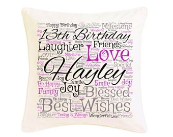 Personalised Birthday Cushion 13th 16th 18th 21st 25th