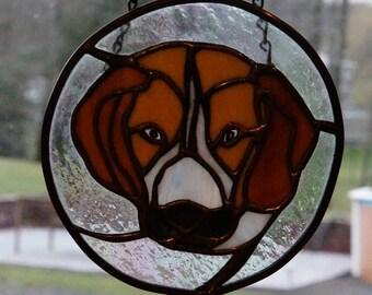 Stained Glass Beagle Dog Suncatcher