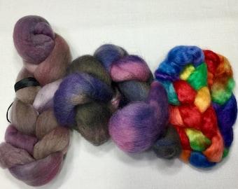 Hand Dyed Wool Sampler, 97g, Trial Size, Merino, Wensleydale, Cheviot, 0605