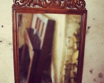 Small Antique Walnut Wall Mirror