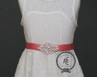 Flower Girl Sash Rhinestone Sash  Bridal Sash Bridal Belt Bridesmaid Sash Girls Belt Flower Girl Belt First Communion Belt