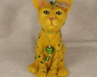 Needle felted Animal, Needle felted Cat, Needle felted Cat with beading, Beaded Dragonfly, Needle felted Mysticat