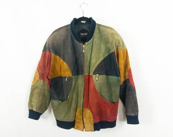 Geometric Color Block Suede Bomber Jacket by Pelle