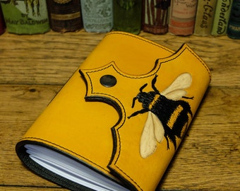 Leather travel Journal sketchbook notepad with bumblebee motif