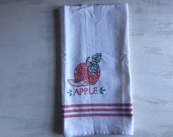 Embroidered Cross Stitch Apple Tea Towel