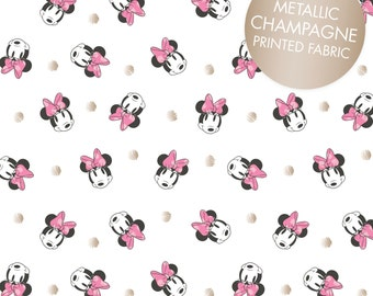 Disney Fabric Minnie Mouse Fabric Face Dot in White with Champagne Metallic Print From Camelot 100% Cotton