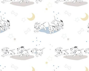 Disney Fabric 101 Dalmatians Fabric Running in White From Camelot 100% Cotton