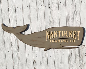 Nantucket Wooden Whale Sign Moby Dick Nautical Decor Beach Decor Nautical Whales Whale Wall Art Whale Nursery Decor Whale Decor Beach House