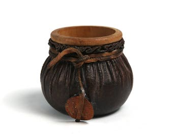Vintage leather/wooden handmade pencil cup, Vintage workshop organizer, Office decor, Vintage handmade leather dice cup,