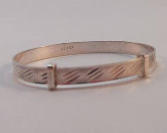 Very Pretty Sterling Silver Adjustable Baby Bangle