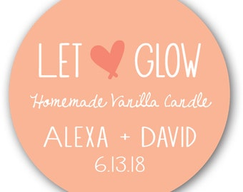 """20 Glossy 2"""" Round Sticker Label Tags - Wedding Candle Sticker Labels - Let Love Glow"""