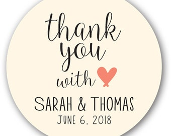 "20 Glossy 2"" Round Sticker Label Tags - Custom Wedding Favor & Gift Tags - Choice of Colors - Thank you with love"