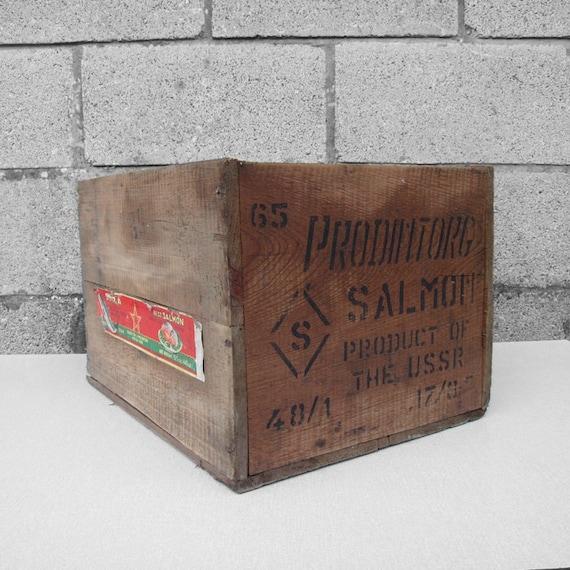 Rustic Salmon Crate Pine Box Storage Display