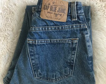 Vintage 90s Gap Classic Fit Blue Denim Mom Tapered Jeans 2 Long