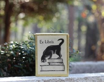 Boxed Set of 45 Vintage Antioch Black Cat Ex Libris Bookplates / Cat Library Labels / Black Cat Ex Libris Label / Antioch Bookplate Company