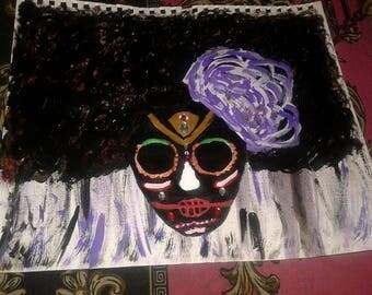 Original Black Art-Afro Sugar Skull
