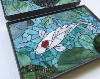 Mosaic koi tiles outdoor glass wall art set of 4 for Koi metal wall art