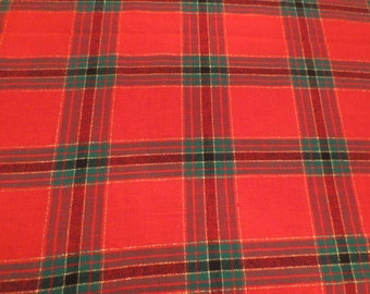 Vintage Rectangle Red Plaid Holiday Tablecloth, Christmas Tablecloth, Plaid  Tablecloth