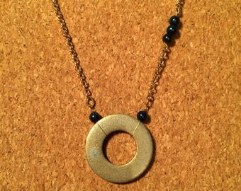 Washer and Glass Bead Necklace