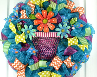Wreath summer FLOWER POT flowers mesh polka dots pink teal blue yellow lime green ribbons spring summer