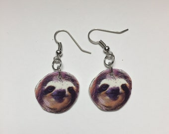 Sloth Earrings- sloth jewelry- Nickel free earrings- Animal earrings- animal lovers- weird gifts- secret santa gifts