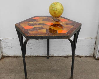 Mid Century Modern Wrought Iron & Mosaic Plant Stand - Side Table