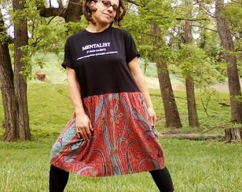 T SHIRT DRESS Upcycled Dress Recycled Dress Black n Red Dress Beach Dress One of a Kind *Mentalist*