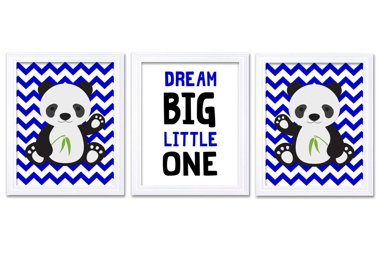 Panda Nursery Art Set of 3 Print Navy Blue Black Chevron Dream Big Little One Child Kid Room Nursery