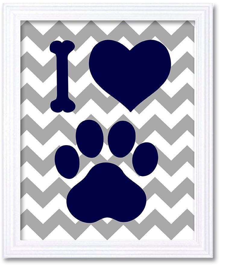 Puppy Dog Nursery Art Nursery Print Baby Art Navy Blue I Love Puppy Paw Baby Animal Print Chevron Wa