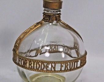 Forbidden Fruit Liqueur Bottle Glass Jacquins 1884 1 pint 64 Proof 1962 Gold Vtg