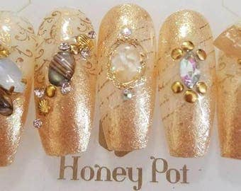 Press on Nails Coffin Bling Gold Kawaii Swarovski