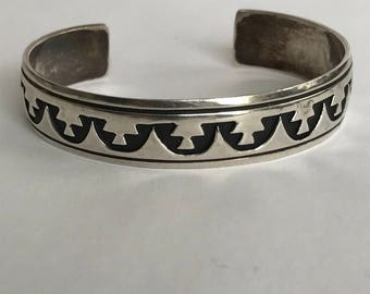 Navajo Sterling Cuff Bracelet Tommy Billy 925 Silver Shadowbox Stamped Vintage Jewelry Native Boho Birthday Mother's Anniversary Gift Tribal