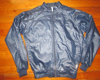 Adidas 1980s Denim Zip Front Jacket B Boy Hip Hop Size S