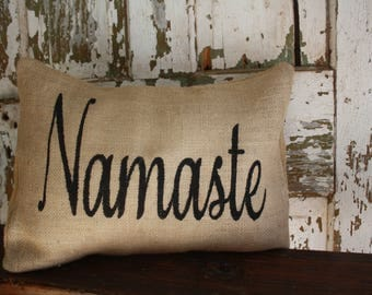 Namaste Burlap Pillow, 12x16 Throw Pillow Cover, Home Decor Pillow Case