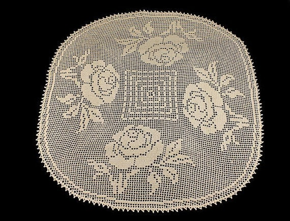 Doily Crochet Tablecloth Rose Design Handmade Square Elegant Roses 33 inches x 29 1/2 inches