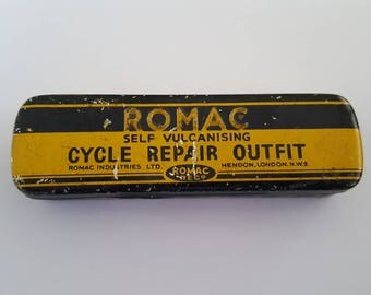 Vintage 1930's Romac Cycle Repair Outfit,  Self Vulcanising empty tin with rust present, Mendon, London, embossed advertising.