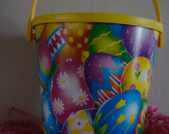Colorful Easter Pail with Lid and Handle