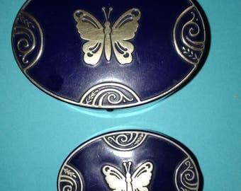 2, Vintage, Lucretia Vanderbilt, butterfly vanity tins