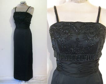 """Gorgeous early 1960s slim fitted evening gown w/beaded bodice waist 27 1/2"""""""