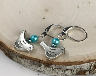 Bird with Teal Beads Earrings #1055